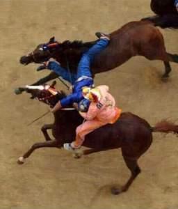 Palio-Valdimonte (Ram) Jockey Unhorsing Nicchio(Shell) in Sienna July 2 2015